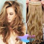 Vlnitý clip in pás 60cm 100% lidské vlasy - přírodní/světlejší blond