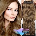 Vlnitý clip in pás 40cm 100% lidské vlasy - světle hnědá