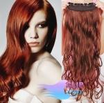 Vlnitý clip in pás 40cm 100% lidské vlasy - měděná