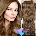 Vlnitý clip in pás 50cm 100% lidské vlasy - světle hnědá