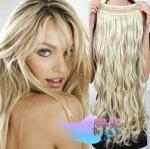 Vlnitý clip in pás 50cm 100% lidské vlasy - platina