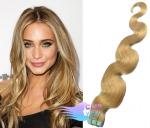 Vlnité tape in 60cm vlasy REMY - přírodní blond #22